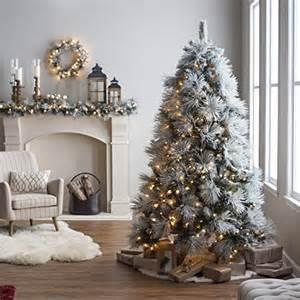7 5 ft classic flocked needle pre lit christmas tree