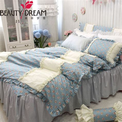blue and beige bedding dreaming cotton classical bedding 4pcs set king home small