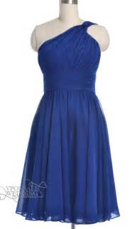 Royal blue one shoulder short bridesmaid gown dvw0151 vponsale