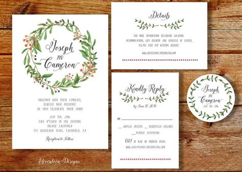 Wreath Wedding Invitation Printable, Printable Wedding