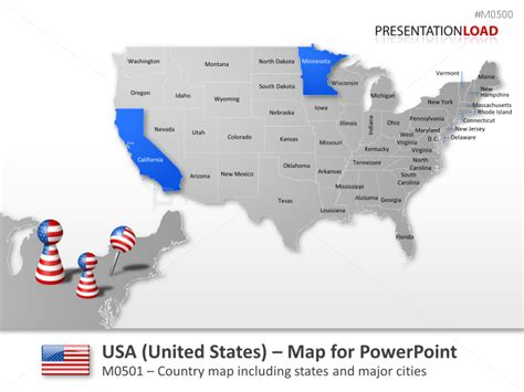 interactive map of usa for powerpoint powerpoint map united states usa presentationload