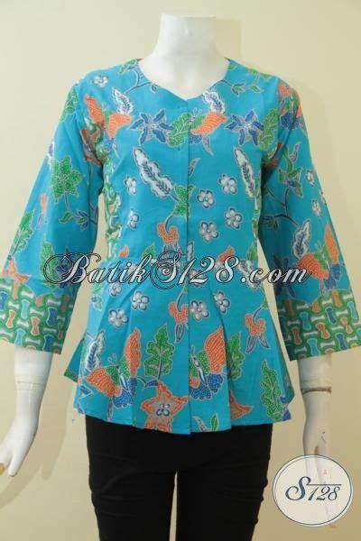 baju kerja modern baju batik modern wanita pria terbaru baju batik biru muda motif bunga pakaian batik seragam
