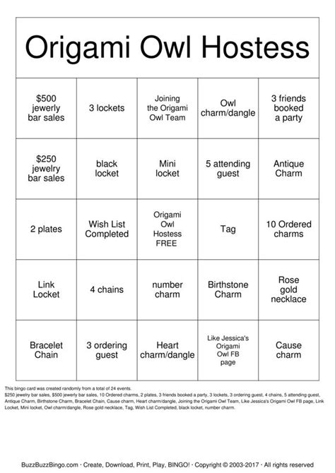 Origami Owl Hostess - origami owl hostess bingo bingo cards to print
