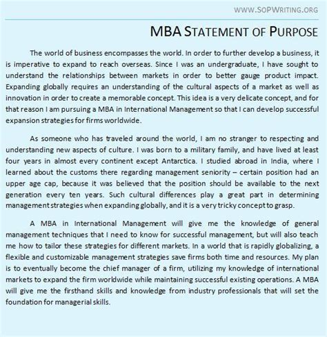 Statement Of Purpose For Mba In Business Management by Sle Essay For Mba Admissions Countriessided Cf