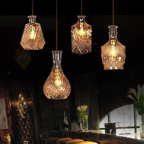 Antique French Crystal Chandelier Antique Decanter Glass Bottle Ceiling Lamp Light Retro