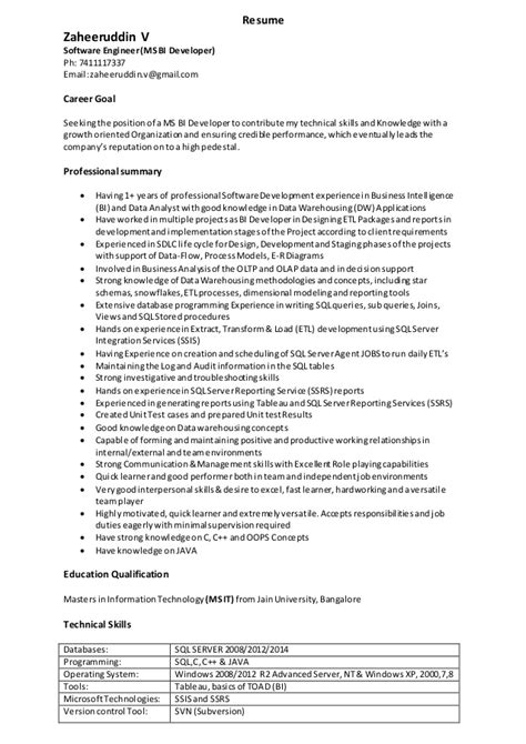 sle resume 5 years experience java 28 images msbi