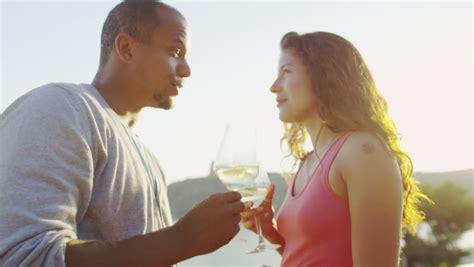 romantic couple drinking wine happy romantic couple drinking wine at outdoor bar or
