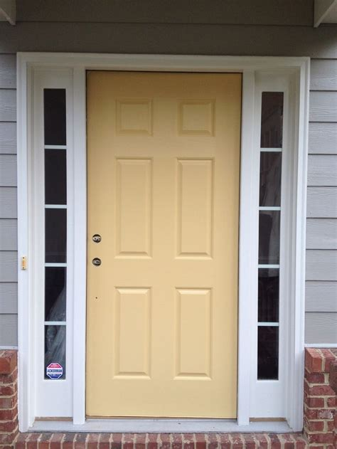 front door re do with benjamin s marblehead gold the sw yellow that we picked was