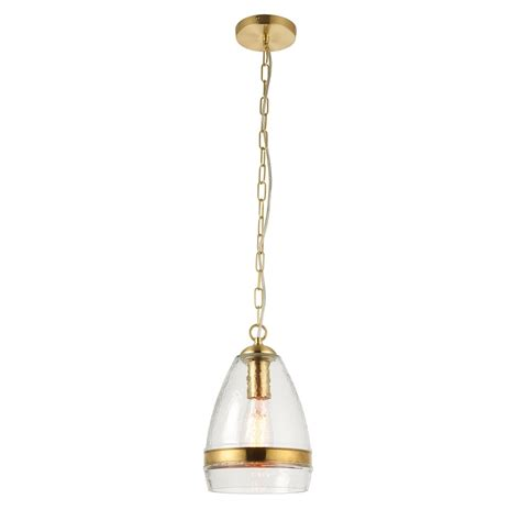 Single Pendant Lights Endon Lighting Delia Single Light Ceiling Pendant In Clear Glass And Brass Plate Effect Finish