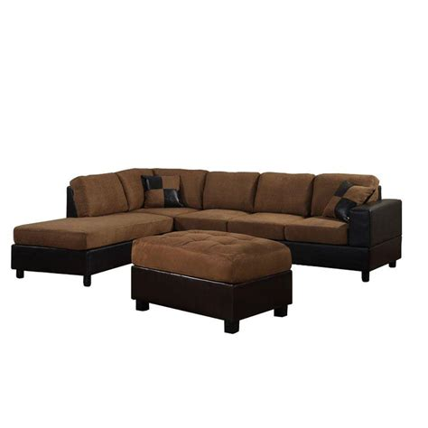 brown microfiber sectional venetian worldwide dallin saddle brown microfiber