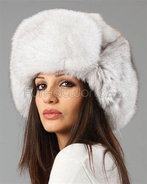 womens blue fox fur russian hat hats fasinators