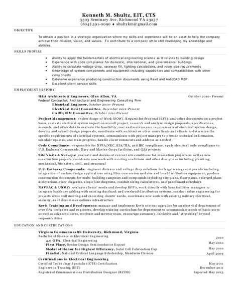 Resume Sles For Experienced Electrical Engineers Electrical Engineer Resume Kenneth Shultz