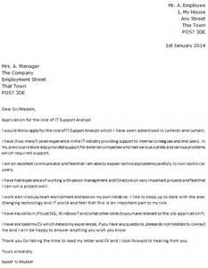 Cover Letter For It Support by It Support Analyst Cover Letter Exle Icover Org Uk