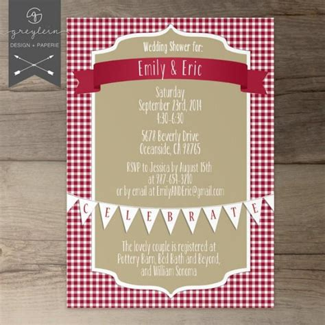 Red Baby Shower Invitations by Picnic Shower Invitations Wedding Bridal Baby Red