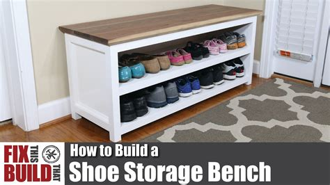 build a shoe bench diy shoe storage bench how to build youtube