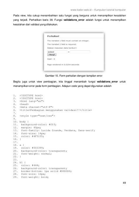 Cd Tutorial Cara Koneksi Php Ke Mysql framework codeigniter 2 bahasa indonesia