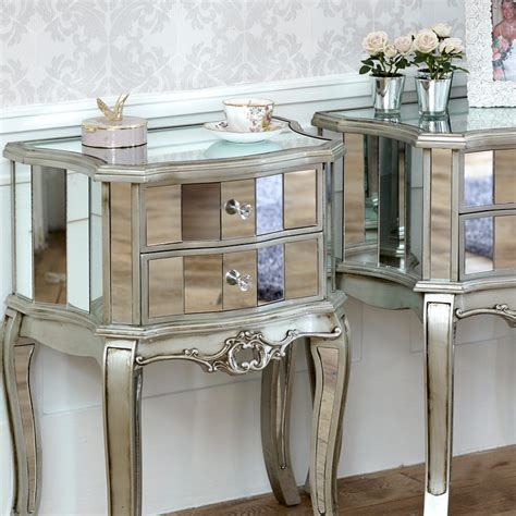 pair mirrored venetian bedside cabinet l table bedroom