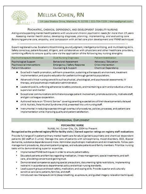 exle resume psychiatric nurse resume exle