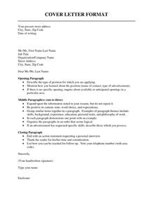 Cover Letter Fomat by Cover Letter Format Resume Cv Exle Template
