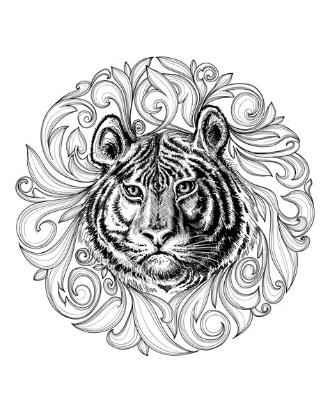 tiger mandala coloring pages free coloring page coloring adult africa tiger leaves