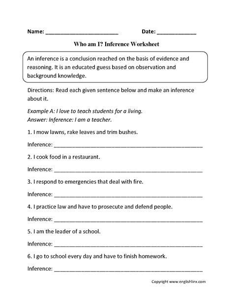 who am i worksheet reading worksheets inference worksheets