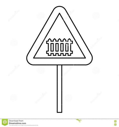 Road Sign Outlines by Warning Road Sign Icon Outline Style Stock Vector Image 80957481