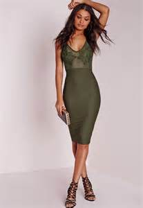 embroidered bust detail bodycon dress khaki missguided