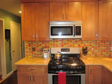 retro mosaic backsplash modern kitchen new york by