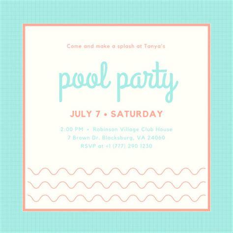simple birthday invitation templates pool invitation templates canva