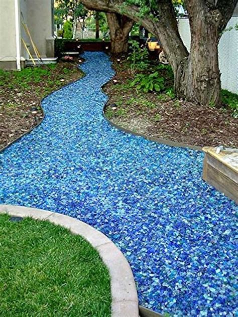 colored landscape stones colored landscape tumbled glass walkway buff color