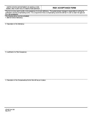 Fillable Online Aphis Usda Risk Acceptance Form Aphis Usda Fax Email Print Pdffiller Nist Risk Acceptance Template