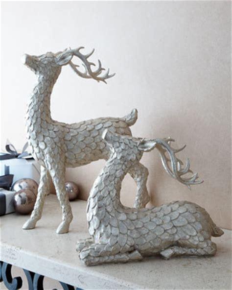 deer decor two golden deer figures traditional