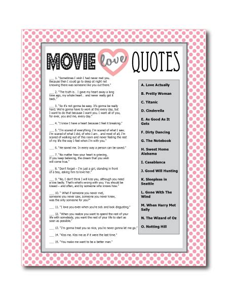 printable bridal shower quotes printable movie love quotes game perfect for a bridal