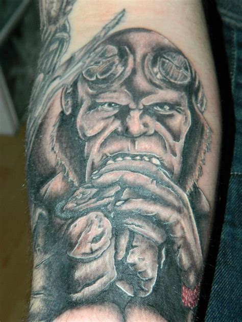 hellboy tattoo hellboy on forearm part of sleeve by