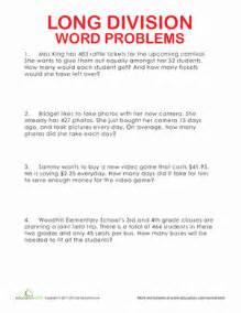 long division word problems worksheet education com