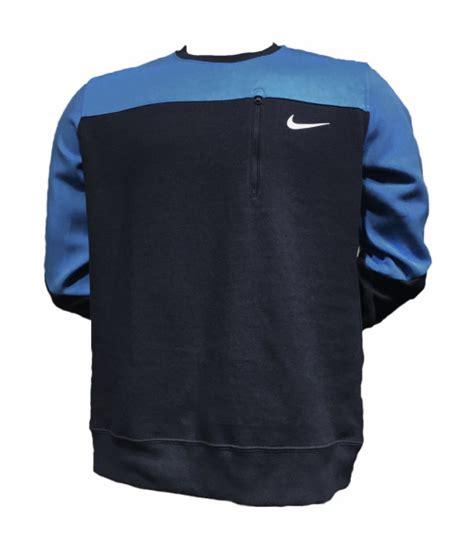 Big Size Nike 14 Zipper Os Fit t shirts original mens nike sweat shirt front zipper pocket black blue 895138 451 size large