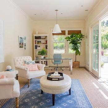home office sitting area  layered rugs transitional