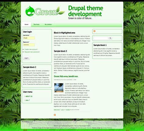Green Drupal Free Themes Drupal Custom Theme Template