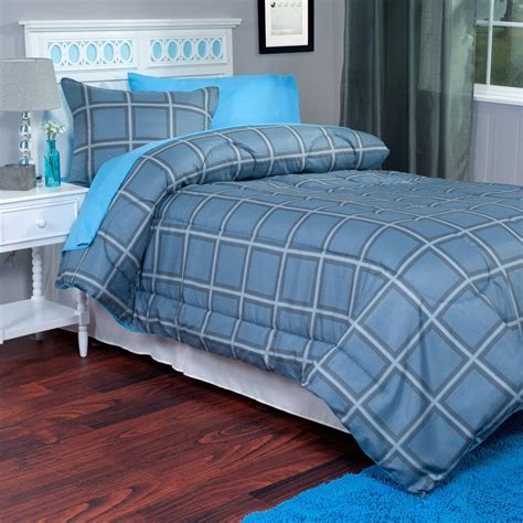 2 Piece Twin Xl Comforter And Sham Blue Gray Kids Room Xl Bedding