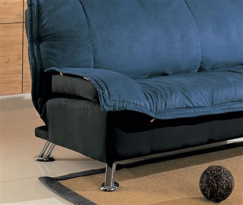 Black And Blue Modern Sofa Bed With Extra Cushioned Layer