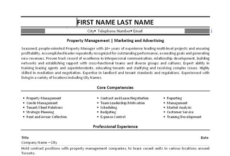 click here to this property manager resume