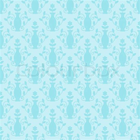 pattern light blue shirt seamless light blue damask floral pattern stock vector