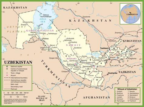 uzbekistan world map uzbekistan political map