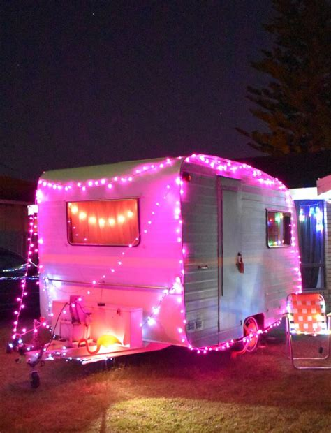 pink lights for christmas vintage baravan caravan