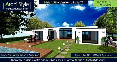 patio plain pied 1 en u toit plat ou avec un toit
