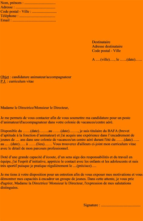 Lettre De Motivation Vacances 5 Lettre De Motivation Candidature Spontan 233 E Mairie