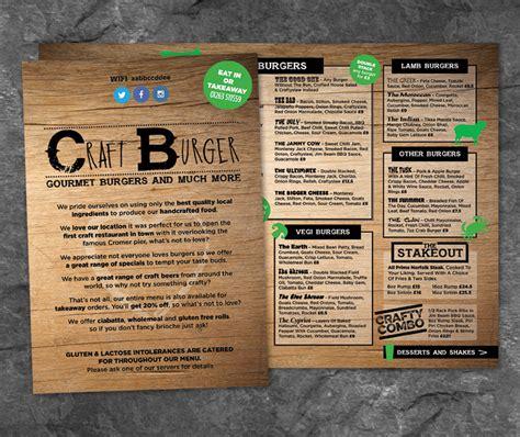 design menu burger craft burger restaurant menu design paul kirk design