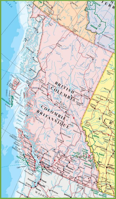 bc canada map large detailed map of columbia with cities and towns
