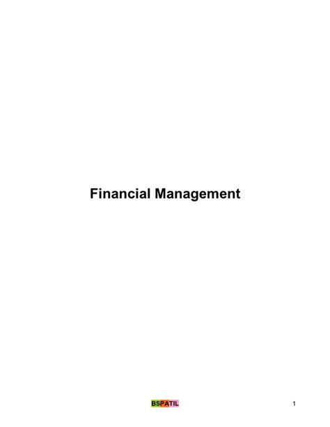 Management Of Financial Services Mba by Financial Management Notes Mba Bk