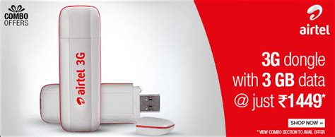 Voucher 3 Data 3gb airtel 3g data card combo offer with 3gb data for just 1449